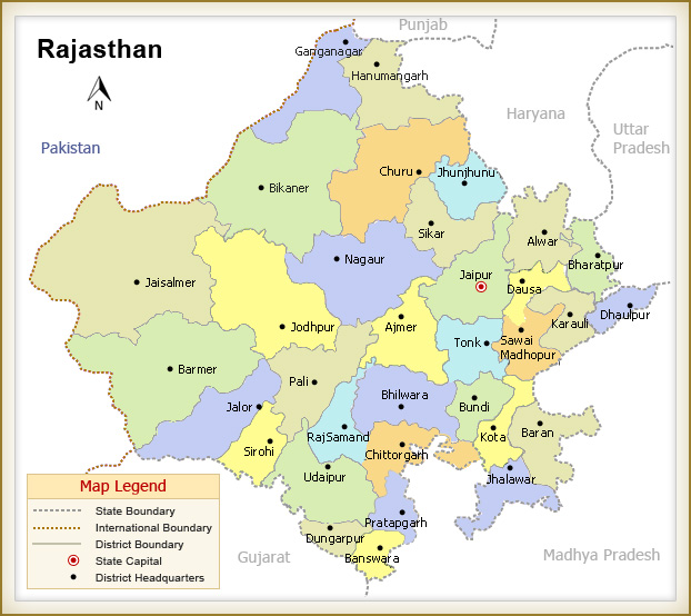 Map Of Rajsthan Map of Rajasthan   Palace on Wheels Route Map